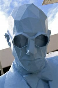 Blue man sculpture at the design district in Miami midtown